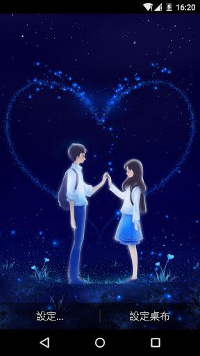 藍色浪漫情侶之愛心動態桌布