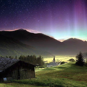 Aurora and Sunrice in Mountain by Ferry Febriyanto - Landscapes Mountains & Hills