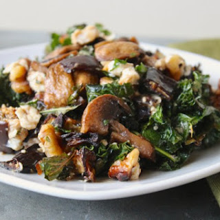 Warm Eggplant, Mushroom and Kale Salad
