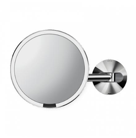 Väggmonterad Sensorstyrd Sminkspegel med Belysning Simplehuman  5x Förstoring, Polerat stål
