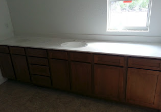 Photo: December 18, 2012 The master bath is taking shape, cabinets and counter top installed.