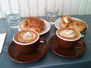 Photo: Wedding breakfast at Cafe Pedlar on Court Street, Brooklyn. Palmieres, chocolate croissant and cappuccinos.