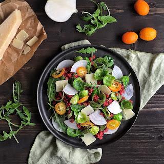 Beet & Barley Salad with Black Radish, Brussels Sprouts, Arugula, Kumquat & Grana Padano