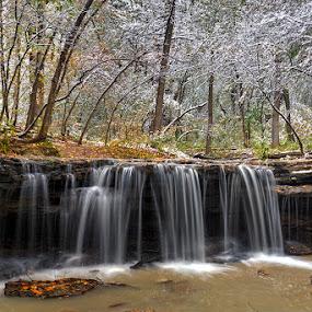 When Autumn meets Winter by Ken Smith - Landscapes Travel ( platte river state park, waterfall, autumn, landscape )