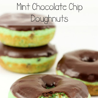 Baked Mint Chocolate Chip Doughnuts.