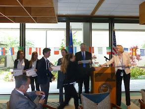Photo: Florida Euro Challenge Competition 2016 Recognition & Awards Ceremomy Federal Reserve Bank of Atlanta - Miami Branch - April 1st, 2016 Consul General of Italy Gloria M. Bellelli, Dr. Volker Anding, and Karen Gilmore, recognizing and congratulating ISPA students