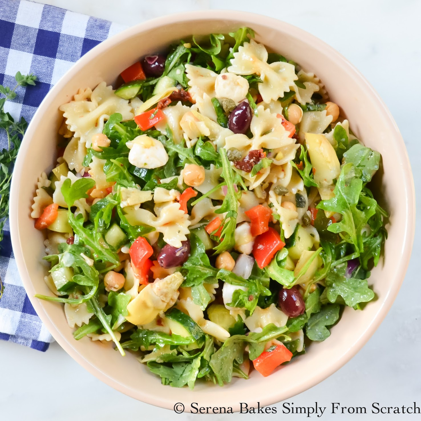 Mediterranean Pasta Salad #SundaySupper | Serena Bakes Simply From ...