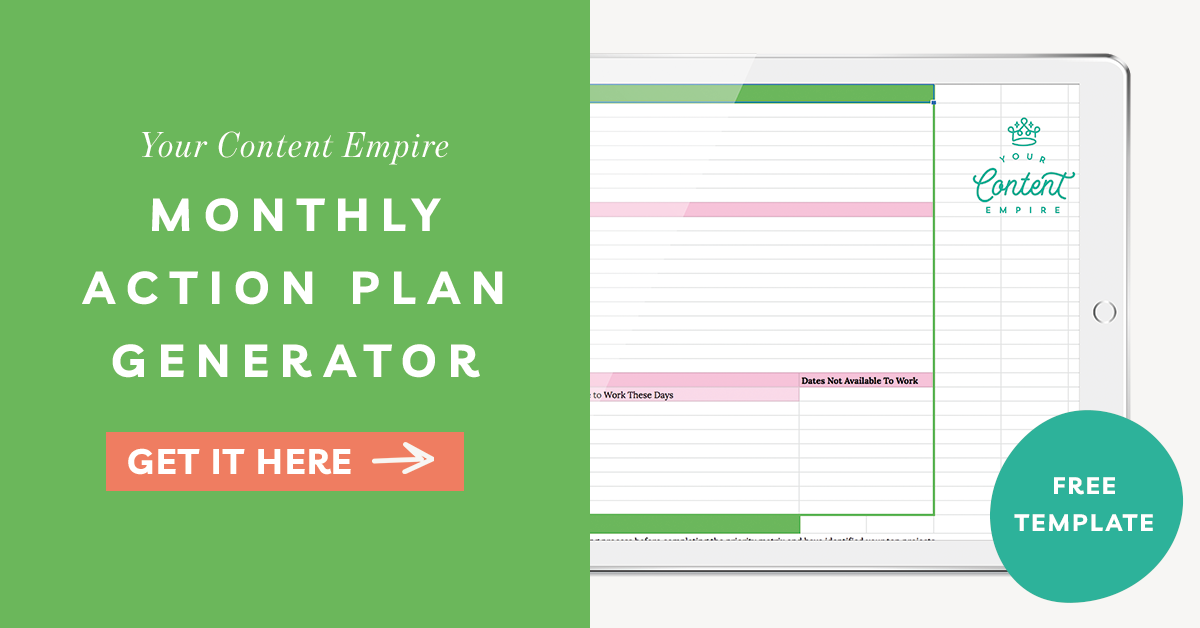 FREEBIE | Monthly Action Plan Generator