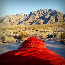 Photo: Funeral Mountains viewed from my sleeping bag on Saturday morning
