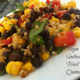 Vegan Southwestern Black Bean Quinoa and Mango Medley.