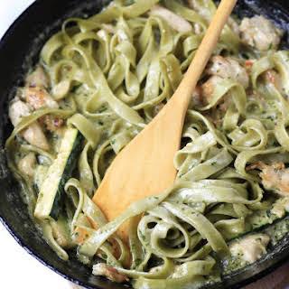 Creamy Zucchini Pesto Pasta with Chicken.