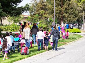 Photo: Pre-schoolers evacuating.