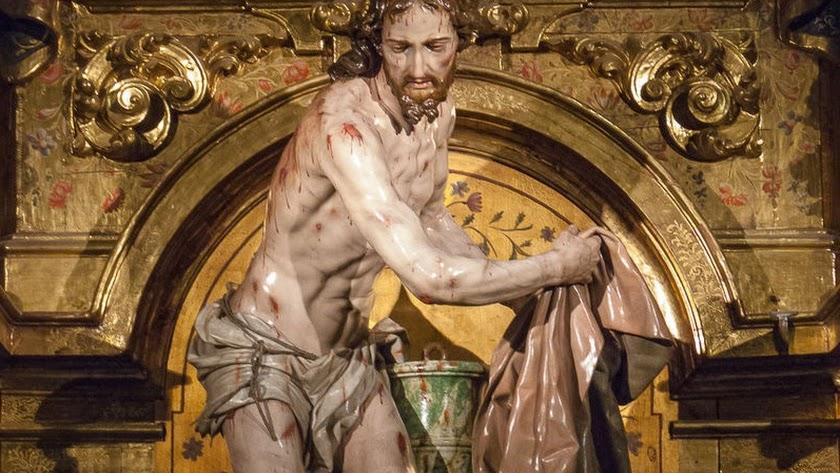 Jesús flagelado recogiendo sus vestiduras. Foto: Wikimedia Commons.