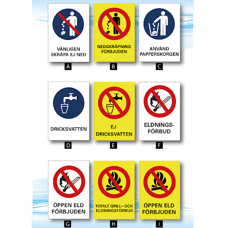 Skylt,eldningsförbud, dricksvatten mm A4, 210x297mm