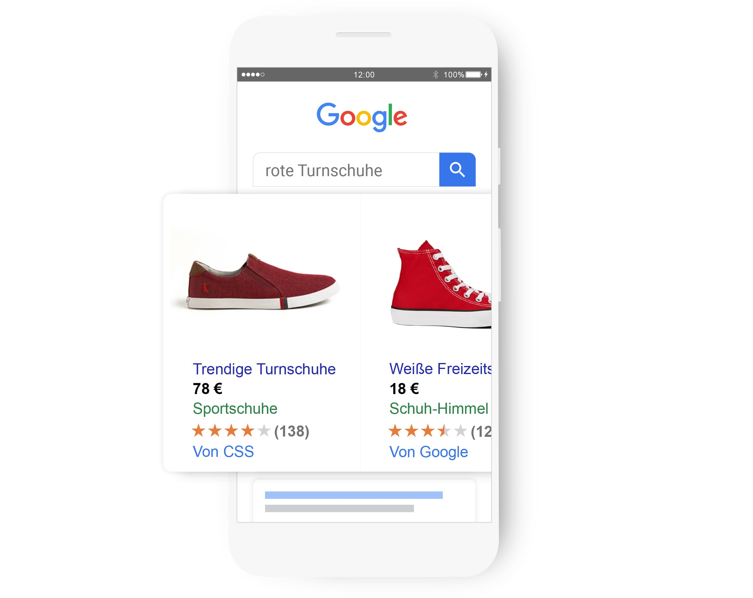 """Bei der Suche nach """"stylishe Turnschuhe"""" wird eine relevante Shopping-Anzeige präsentiert."""