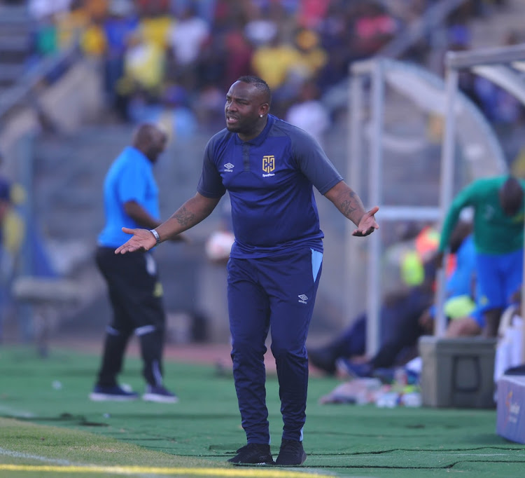 Cape Town City coach Benni McCarthy reacts during the MTN8 semifinal second leg match against Mamelodi Sundowns in Pretoria on September 2 2018. McCarthy says he is not worried about his big stomach because he is a coach.