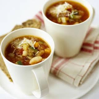 Mugs of Bean and Veg Soup.