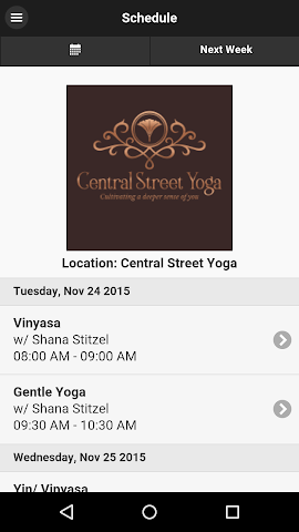 android Central Street Yoga Screenshot 0