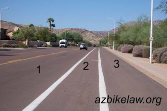 """Photo: Knox Road, Phoenix (Pic6) This is pretty much same as Pic4 -- note that for the sake ofargument no parking is permitted -- so region 3 next to the curb is not a """"parking lane"""". NOTE that region 2 is a *designated* Bike Lane."""