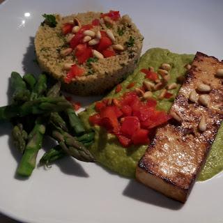 Tofu Steaks with Creamy Asparagus Sauce.