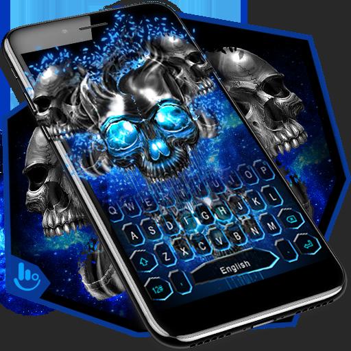 Blue Black Skull Keyboard Theme
