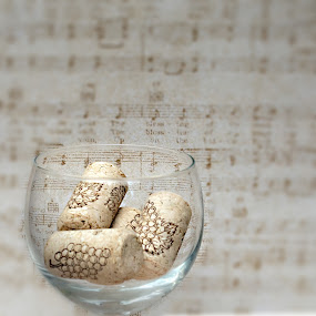 Sipping Wine / Listening to Music by Sherry Hallemeier - Artistic Objects Glass ( canon, cork, fine art, framed art, corks, artwork, stock, sigma, metal, drink, sheet music, card, objects, music, wine, art, canvas, acrylic, tote bags, metalic, print, stock photography, wine corks, alcohol, wine glass, poster, artistic, sipping wine, towels, wineglass,  )