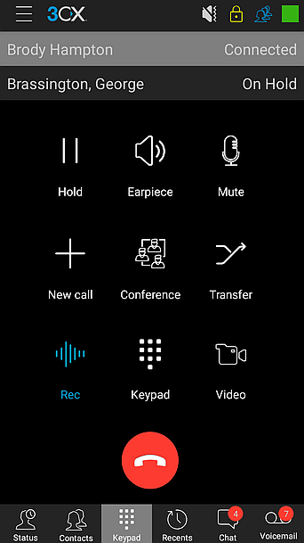 In-call functions in 3CX Android App.