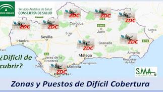 Mapa con zonas de difícil cobertura realizado por el Servicio Andaluz de Salud.