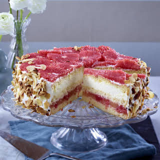 Pink Grapefruit Layer Cake with White Chocolate Mousse.
