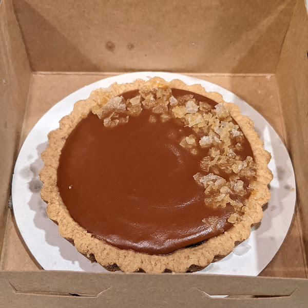 Sea Salt Caramel tart. A touch too salty but very good, & outstanding crust. Passion fruit tart was too good to be photographed!