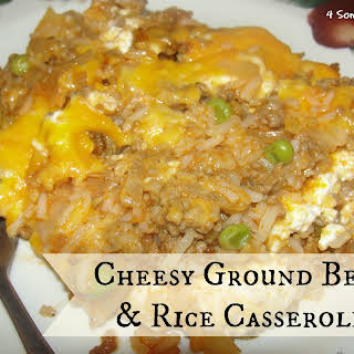 Cheesy Ground Beef And Rice Casserole.