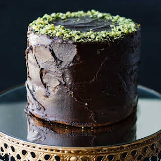 Healthy Chocolate Cake w/ Tahini-Chocolate Icing.