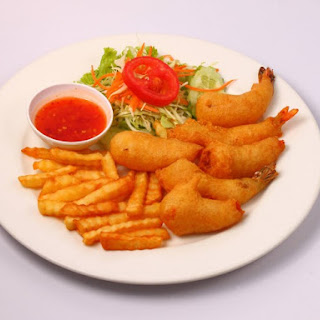 Deep-Fried Prawns With Batter.