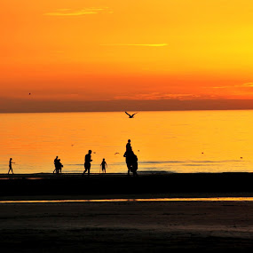 You find the way by Yola Vandergunst - Landscapes Sunsets & Sunrises ( oostende aan zee, sunset, summer, human interest, beach )