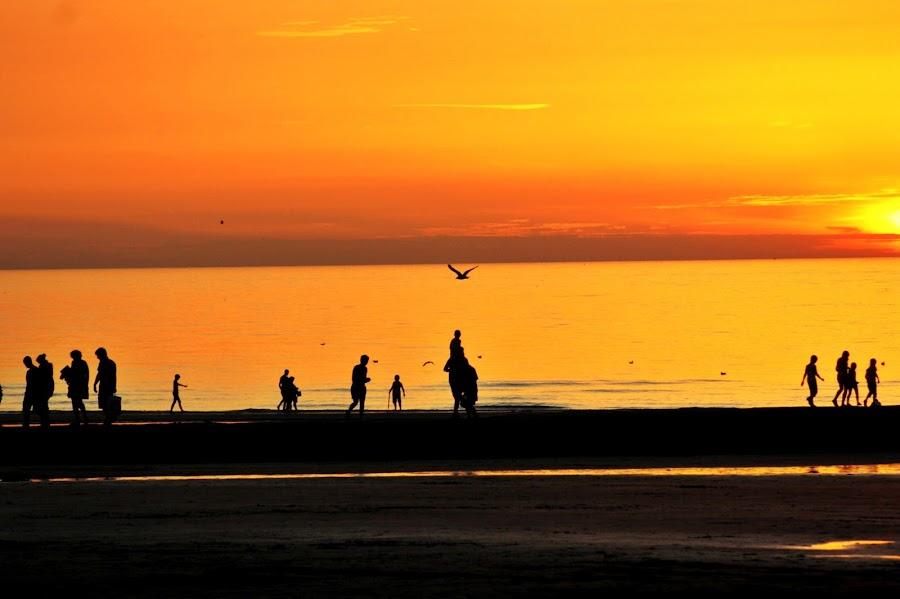 You find the way by Yola Vandergunst - Landscapes Sunsets & Sunrises ( oostende aan zee, sunset, summer, human interest, beach )