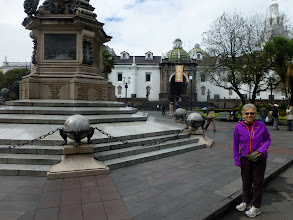 Photo: Sheila at a square in Quito, on a short mornng walk