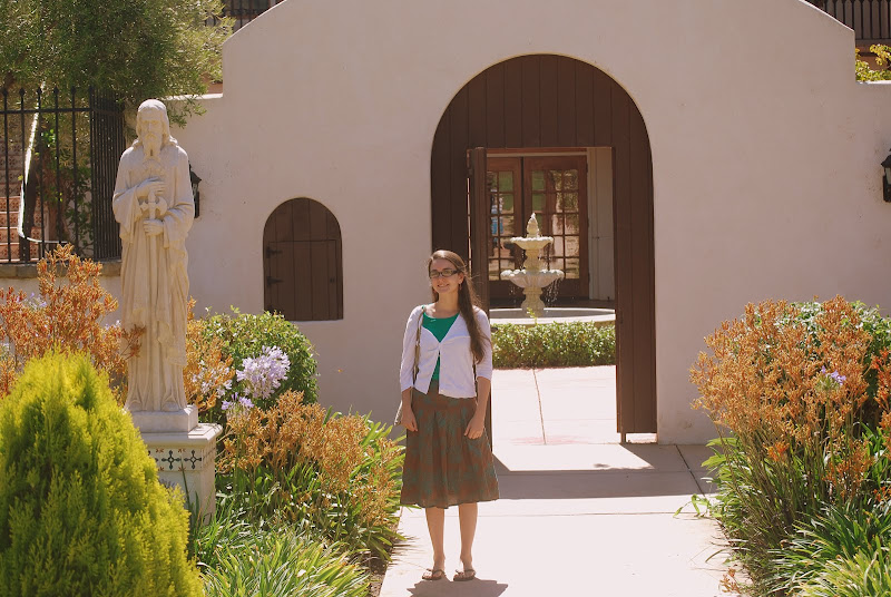 Photo: Libby outside Trip's dorm.