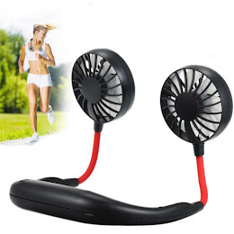 Mini ventilator portabil pentru gat, alimentare USB, Rosu/Negru, Alb