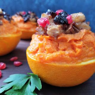 Sweet Potato Stuffed Oranges & Caramelized Pears.