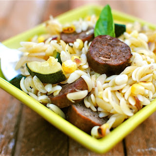 Orzo with Corn, Zucchini and Spicy Sausages