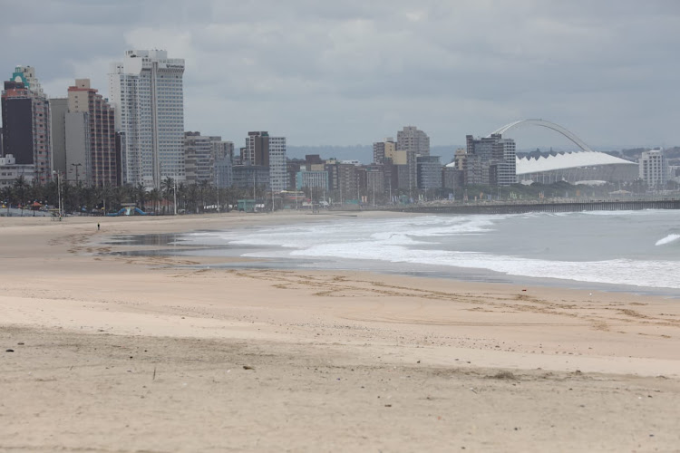 An empty Durban beachfront due to Covid-19 restrictions, paints a picture of the pandemic's impact.