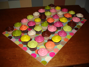 Photo: Multi-colored Cupcakes