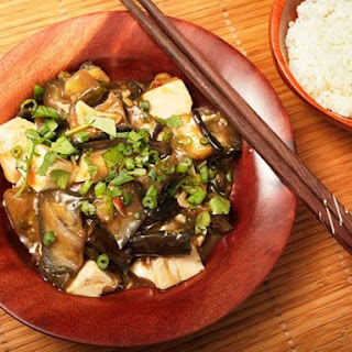 Braised Eggplant With Tofu in Garlic Sauce.