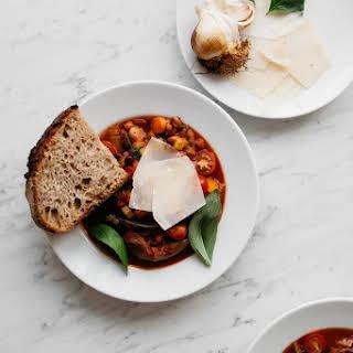 Roasted Bone Broth Tomato & Bean Soup with Sourdough Bread.