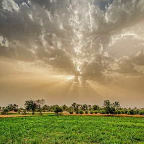 An Eve by Fateen Younis - Landscapes Cloud Formations ( sunset, cloud, landscape, fields,  )
