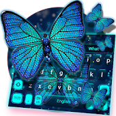 Blue Diamond Butterfly Keyboard Theme