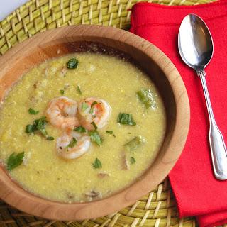 Sweet Corn Soup with Paprika Shrimp
