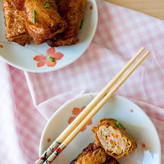 Beancurd Skin Roll with Turkey, Apple and Carrot.