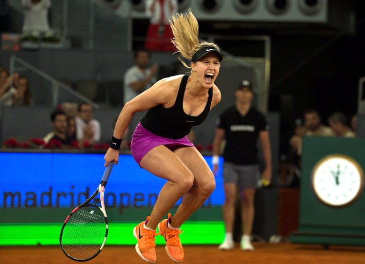 Eugenie Bouchard of Canada celebrates victory over Maria Sharapova of Russia at the Madrid Open in Spain. Picture: REUTERS/SERGIO PEREZ