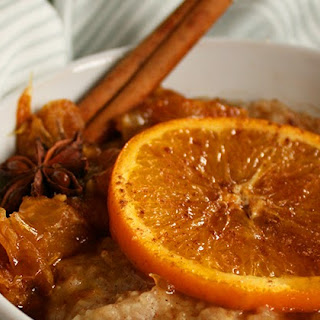 Millet Oatmeal with Caramelized Orange Ginger Compote.